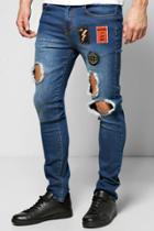 Boohoo Skinny Badged Washed Ripped Jeans Indigo