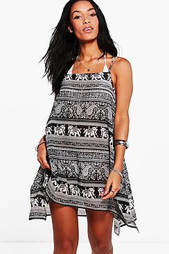 Boohoo Gabriella Elephant Beach Swing Dress