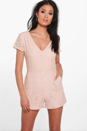 Boohoo Zoya V Neck All Over Lace Playsuit Blush