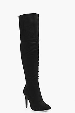 Boohoo Meena Wide Fit Pointed Thigh High Boots