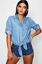 Boohoo Naomi Oversized Knot Front Denim Shirt