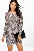 Boohoo Fiona Flock Mesh Long Sleeve Bodycon Dress