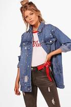 Boohoo Petite Abigail Longline Studded Denim Jacket