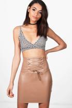 Boohoo Aurera High Waist Leather Look Mini Skirt Sand