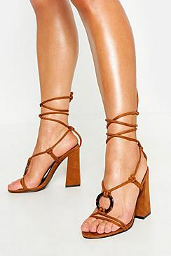 Boohoo Tortoise Ring Detail Wrap Block Heels