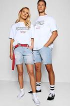 Boohoo Pride Distressed Slim Fit Denim Shorts
