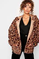 Boohoo Hooded Leopard Faux Fur Coat