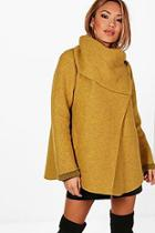 Boohoo Funnel Neck Wool Coat
