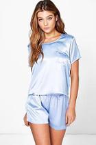 Boohoo Esther Satin Pocket Tshirt And Short Set