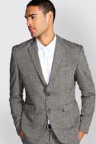 Boohoo Slim Fit Tweed Blazer Grey