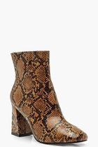 Boohoo Snake Print Block Heel Shoe Boots