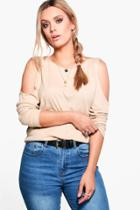 Boohoo Plus Maya Cold Shoulder Knitted Tunic Sand
