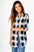 Boohoo Maddie Large Check Oversized Shirt Black