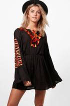 Boohoo Boutique Iva Embroidered Tassle Smock Dress Black