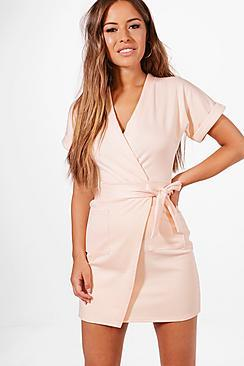 Boohoo Petite Laura Obie Tie Wrap Dress