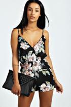 Boohoo Francesca Floral Print Playsuit Black