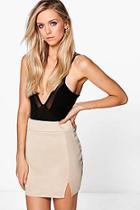 Boohoo Samarah Scuba Split Highwaist Mini Skirt