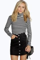 Boohoo Laura Black Denim Button Through Mini Skirt Black
