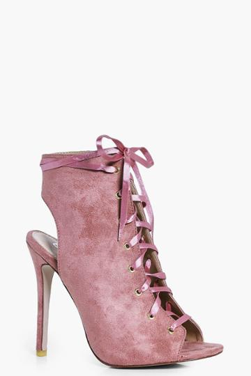 Boohoo Eleanor Ribbon Lace Up Shoe Boot Blush