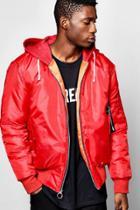 Boohoo Oversized Hooded Ma1 Bomber Jacket Red