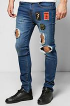 Boohoo Skinny Badged Washed Ripped Jeans