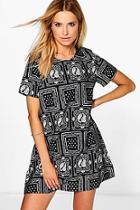 Boohoo Tamara Monochrome Paisley Print Shift Dress