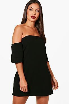 Boohoo Jess Ruffle Tiered Sleeve Off Shoulder Shift Dress