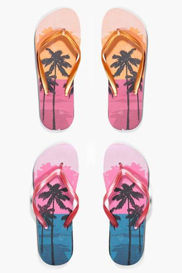 Boohoo Ruby Ombre Palm Print Two Pack Flip Flop Pink