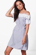Boohoo Sallie Stripe Bardot Lace Trim Dress