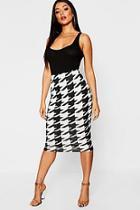 Boohoo Dogtooth Midi Skirt