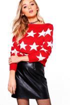 Boohoo Karina Star Jumper Red
