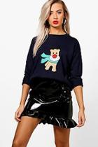 Boohoo Abigail Applique Reindeer Christmas Jumper
