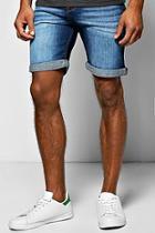 Boohoo Skinny Fit Indigo Wash Denim Shorts In Long Length
