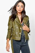 Boohoo Debbie Belted Button Faux Leather Jacket