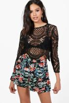 Boohoo Holly Crochet Lace Zip Back Crop Top Black