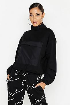 Boohoo Satin Detail Oversized Sweat