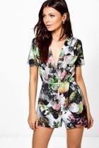 Boohoo Amy Deep Plunge Floral Playsuit Multi