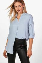Boohoo Leah Oversized Soft Touch Denim Shirt
