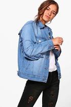 Boohoo Petite Ava Ruffle Detail Denim Jacket