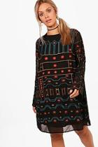 Boohoo Plus Embroidered Shift Dress