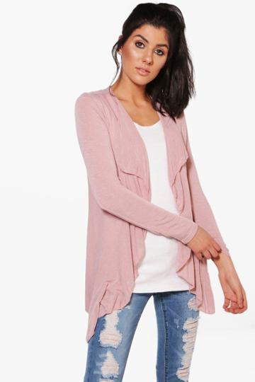Boohoo Alice Fine Knit Waterfall Cardigan Blush