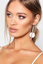 Boohoo Pink Contrast Double Circle Earrings