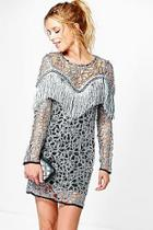 Boohoo Boutique Ava Tassel Long Sleeved Dress