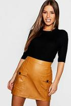 Boohoo Petite Contrast Button Mini Skirt
