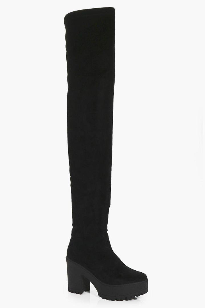Boohoo Amber Cleated Thigh High Boot Black