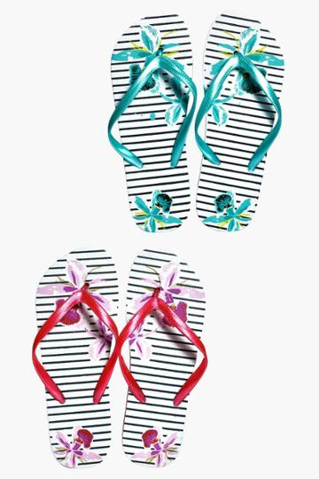 Boohoo Tia Stripe And Flower Two Pack Flip Flop Multi