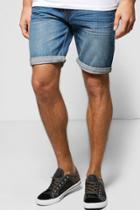 Boohoo Stonewash Denim Shorts Blue