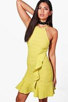 Boohoo Kerry Textured Strappy Frill Bodycon Dress