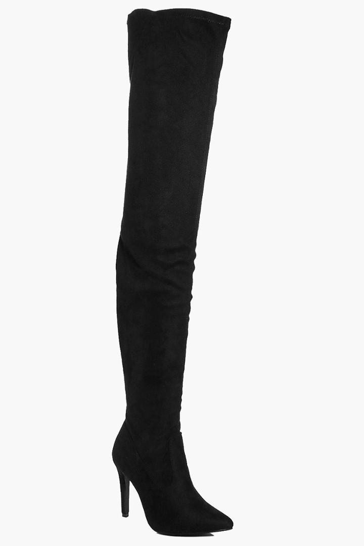 Boohoo Nicole Thigh High Pointed Boot Black
