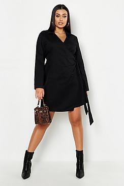 Boohoo Plus Wrap Belted Shirt Dress